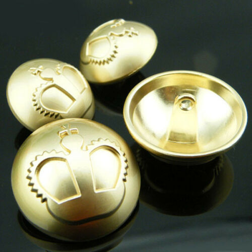 12PCS New Gold Crown Upscale Metal Round Sewing Suit Shank Buttons 18 23mm