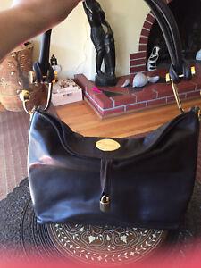 Image Is Loading Used Caggiano Originale Black Leather Purse 22kt Fine