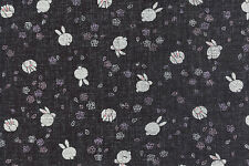 Bunny Rabbits: Asian Japanese Black Light Weight Dobby Fabric (1/2 YD)