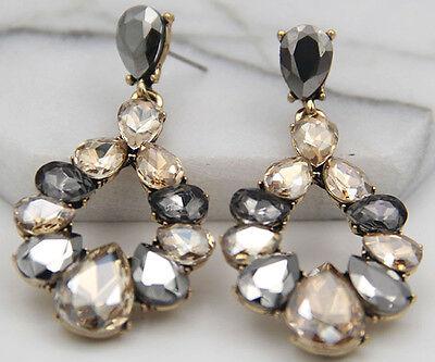 Woman's Multi Crystal Rhinestone Silver Plated  Long Ear Stud Hoop earrings 258