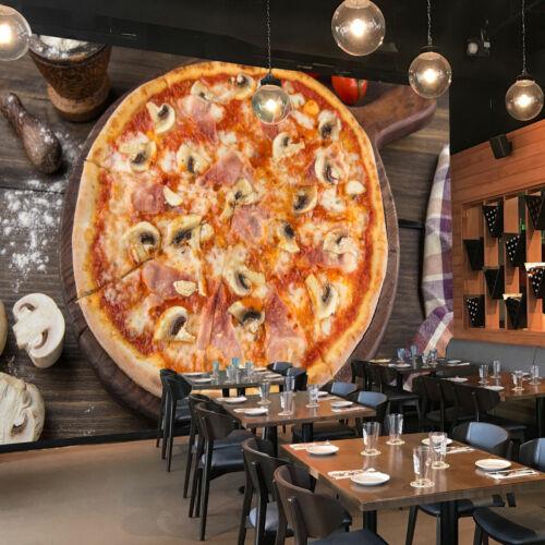 Pizza emporter nourriture Papier peint photo restaurant cuisine Affiche Décoration