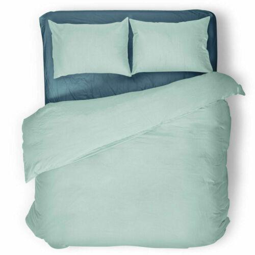 Plain Dyed Duvet Cover Quilt Bedding Set With Pillowcase Single Double King S//K