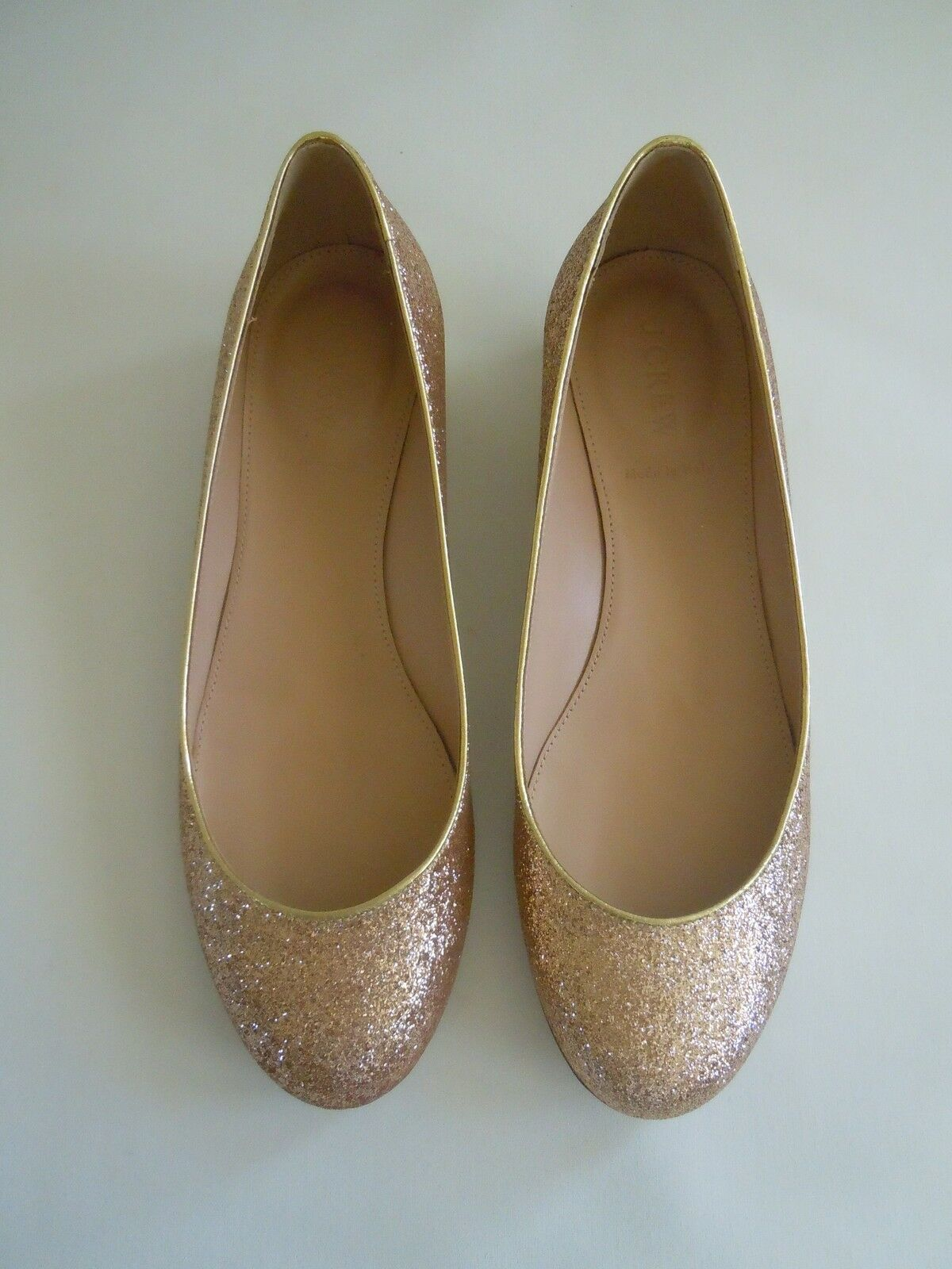 Brand New J. CREW Size 9 JANEY GLITTER FLATS in the color METALLIC GOLD
