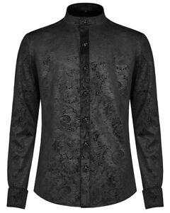 Punk-Rave-Gotico-Camisa-Top-Para-Hombre-De-Terciopelo-Negro-Vampiro-Victoriano-Steampunk-Paisley