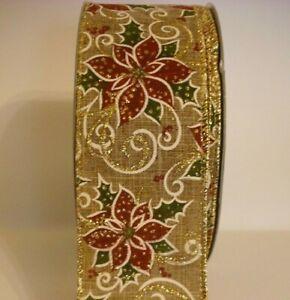 Luxury-2-5-034-christmas-ribbon-rustic-glittered-poinsettia-bows-craft-per-metre