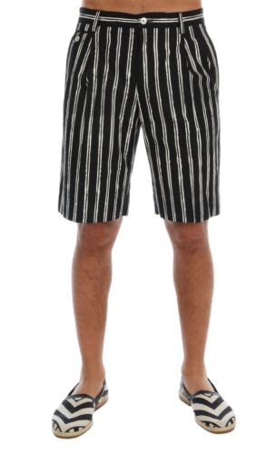 NEW $600 DOLCE /& GABBANA Shorts White Black Striped Cotton Above Knees IT46//W32