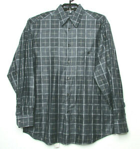 Men-039-s-Zanella-Casual-Shirt-sz-M-Gray-Plaid-Long-Sleeve-100-Cotton-made-in-Italy