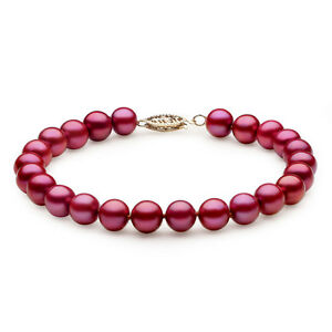 14K-Solid-Yellow-Gold-AAA-7-5-mm-Freshwater-Red-Cranberry-Pearl-Bracelet-7-5-034