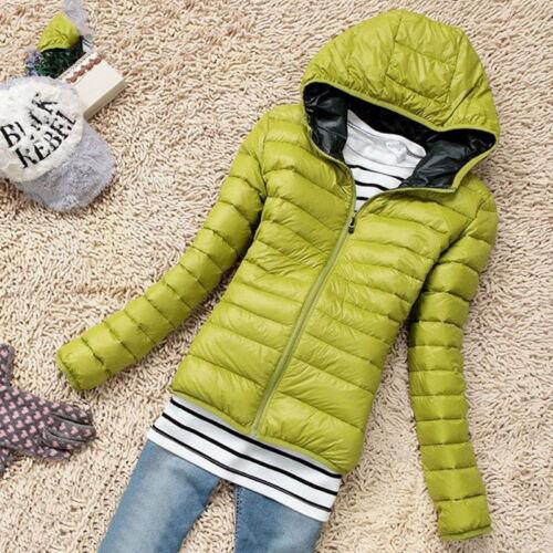 Women Quilted Padded Puffer Bubble Hooded Zip Coat Winter Lightweight Jacket BJ