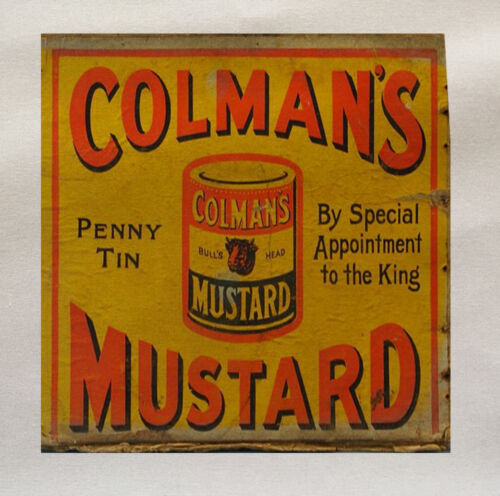 Colmans Mustard  Printed Fabric Panel Make A Cushion Upholstery Craft