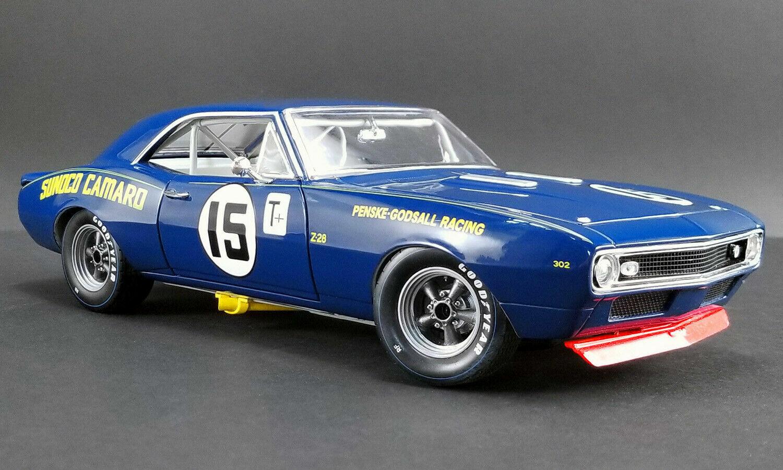 Gmp 1967 Camaro Coche Carreras Mark Donohue Sunoco Penske Racing Trans Am 1 18