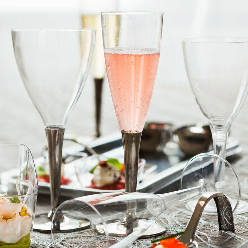 100 x Mozaik Silber Stem Champagne Flutes+Wines Glasses Clear Plastic Disposable