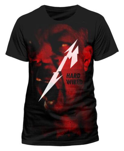 Official Men/'s Premium Black T-Shirt Metallica Hard Wired Jumbo