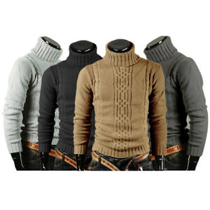 Men-039-s-Turtleneck-Sweaters-Warm-Knitted-Tops-Pullover-Cardigan-Slim-Fit-Knitwear
