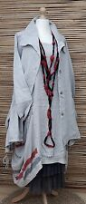 LAGENLOOK LINEN AMAZING QUIRKY 2 PCS  DRESS+JACKET*GREY*SIZE L-XL BUST UP TO 46