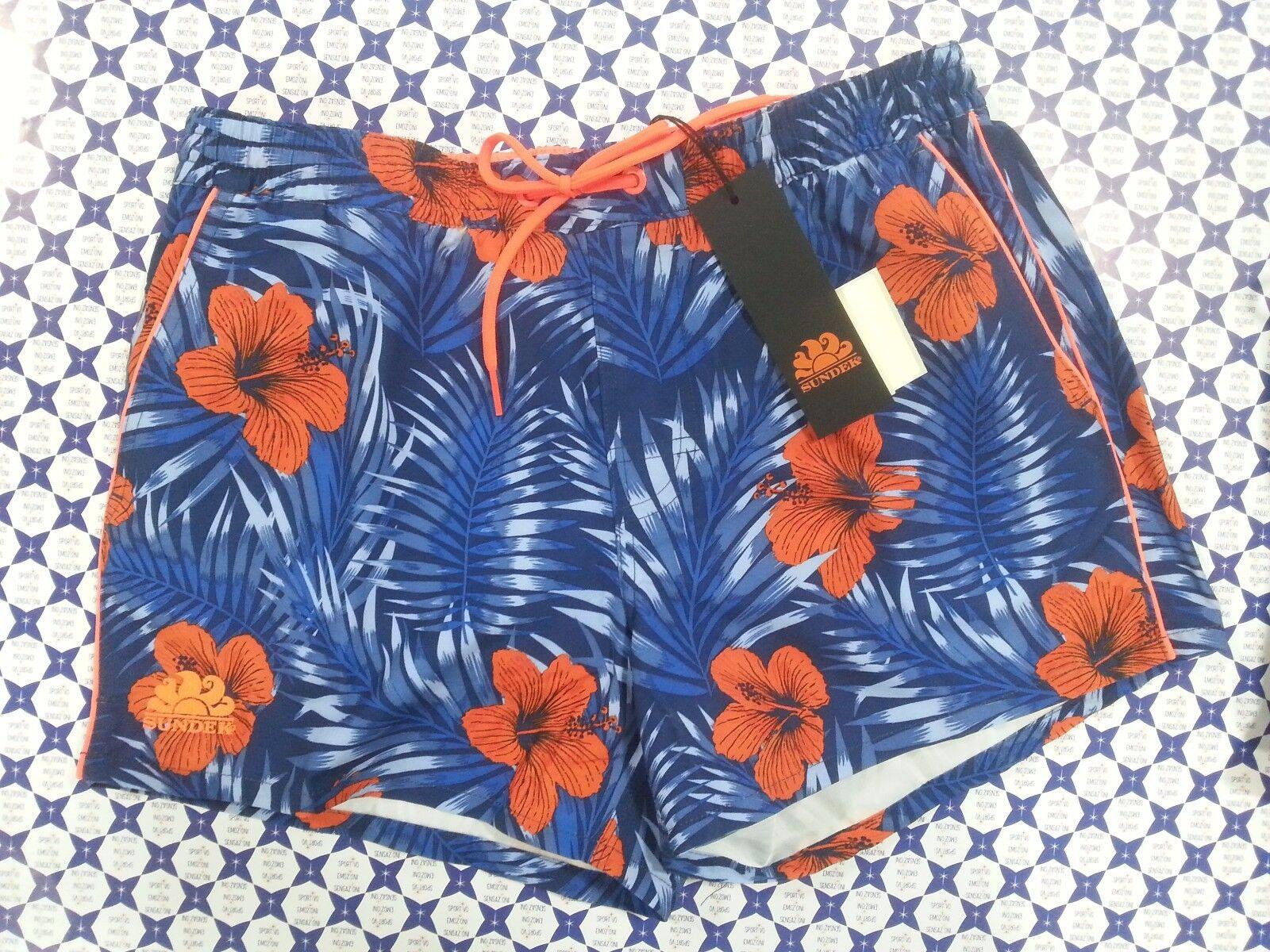 Costume Boxer SUNDEK Piping Rosco Floreale   SCONTATO  Mare Piscina blue Arancio