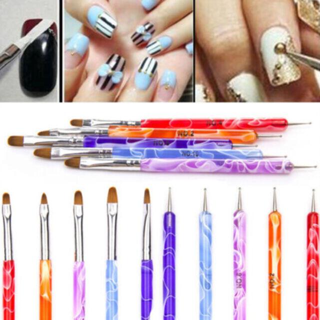 NEW HOT 5PCS 2 Way Dotting Manicure Tools Painting Pen Brush Nail Art Paint SE3C