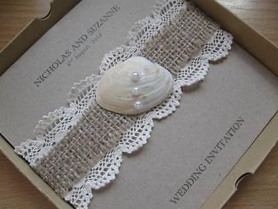 Hessian Burlap Wedding Invitations - Eco Friendly Card + Box - Lace & Shell