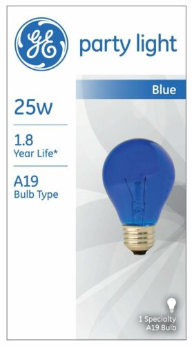 GE Party Light BLUE A19 TB//25W Medium Base #49724  BulbTransparent Blue