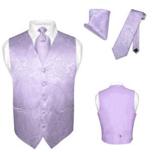 Mens Paisley Design Dress Vest Necktie Lavender Purple Color Neck