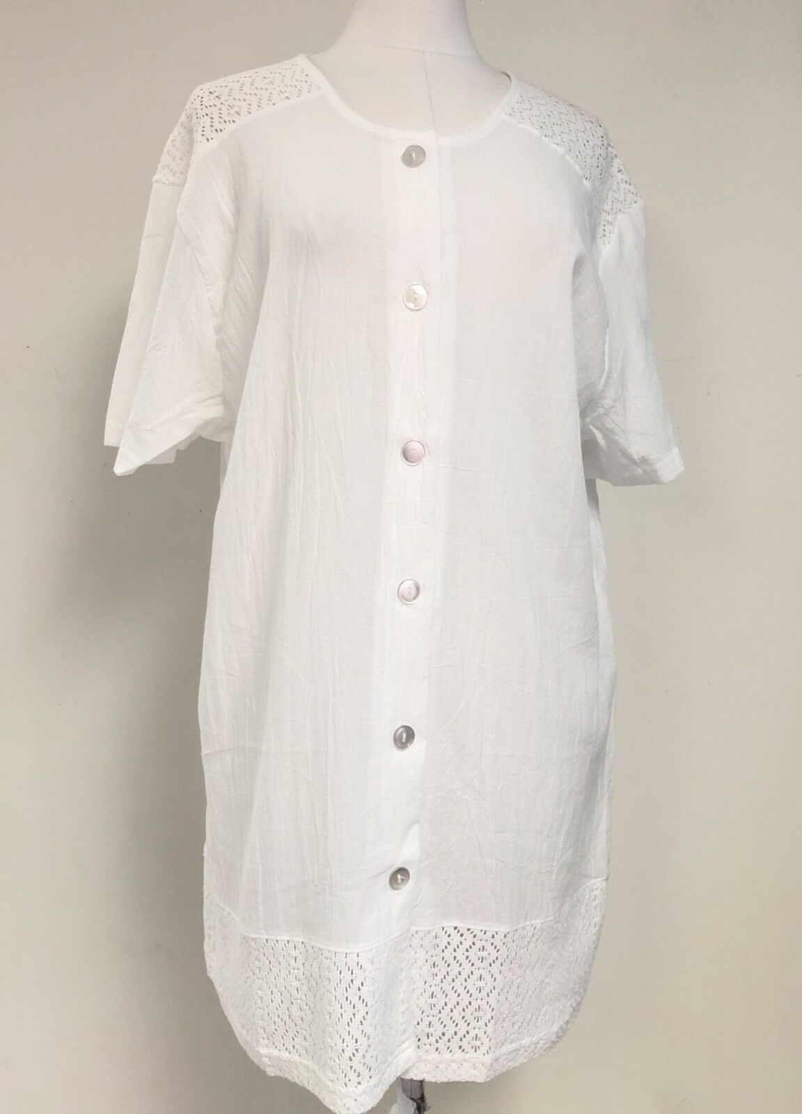 Jordan Taylor Damen Weiß Gehäkelt Knitter Strandbedeckung Bademode Tunika Nwt