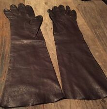 """Vintage Opera Length 15"""" Long Brown Kid Leather Gloves For Carson's Sz 7"""