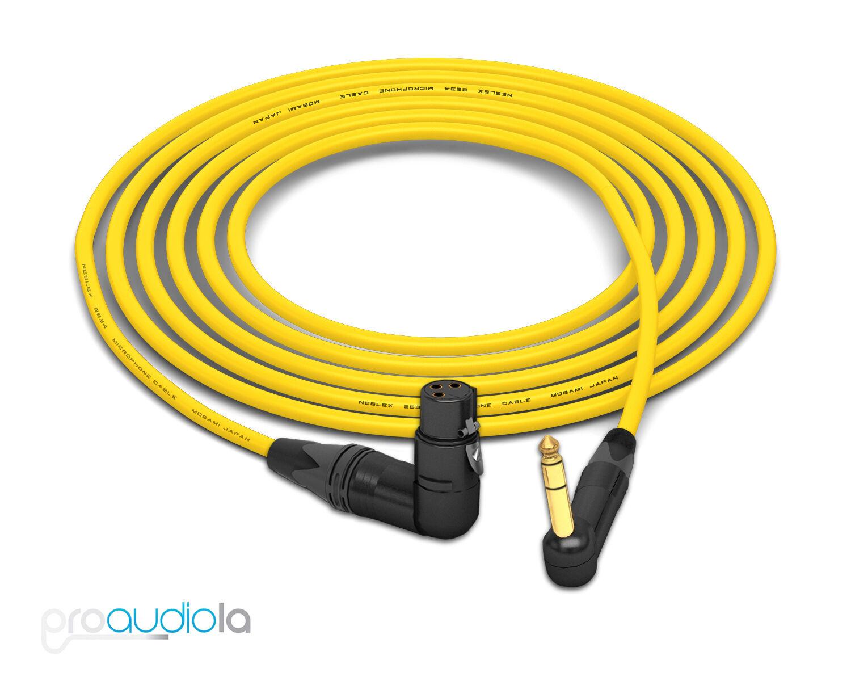Cable de cuatro cuatro cuatro Mogami 2534   Neutrik 90 o TRS 90 oro o XLR-F   Amarillo 8 pies 8 pies.  más orden