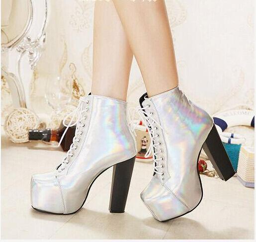 Stivali stivaletti scarpe donna plateau argento tacco quadrato 12.5 cm 8627