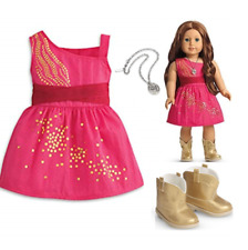 """American Girl 18"""" Doll Saige's Sparkle Dress and Gold BOOTS 2013 Doty Retired"""