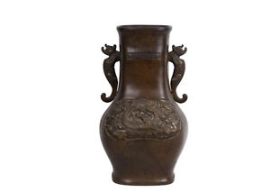 China-19-Jh-Qing-Grosse-A-Chinese-Bronze-Baluster-Vase-Vaso-Cinese-Chinois
