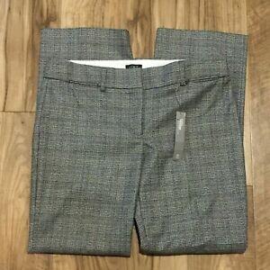 NWT LOFT Marisa Dress Trouser Size 10P Womens Gray Black Plaid Pants (34.5 x 30)