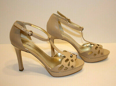 9.5 M Women's Shoes Anne Klein Ak Sultry Women's Shoes Leather Heels Ivory/tan Color Sz