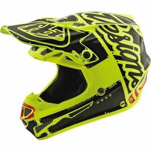 Troy-Lee-Designs-SE4-Polyacrylite-Factory-Helmet-Yellow-Black-All-Sizes