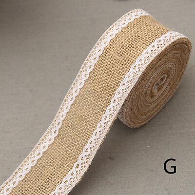 2M Wedding Lace Burlap Garland Hessian Ribbon Christmas Gifts Roll Rustic DecorR