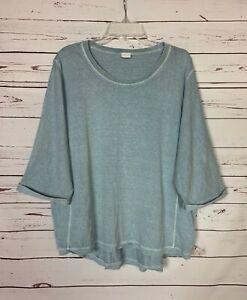 Poetry Women's Size 16 Light Blue Hemp & Cotton Spring Summer Top Blouse Shirt