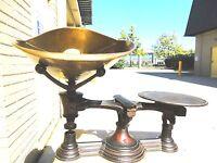 Cast iron pat 1877 Henry Troemner Grocers Merchants Trade Scale W/ Brass Tray