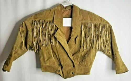 Vtg 90's Evan Todd Leather Jacket Crop Fringe Line