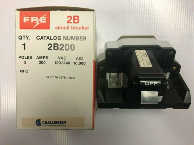 FEDERAL PACIFIC 200 AMP MAIN BREAKER TYPE 2B SAVE $$$C