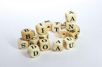 Premium Buchstabenwürfel Buchstabenperlen Holz 10x10mm speichelfest freie Wahl