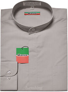 New-men-039-s-shirt-banded-nehru-collar-dress-formal-party-prom-wedding-silver