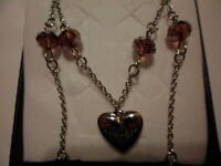 Faceted Purple Glass Beaded Necklace W/heart Pendant In Stainless Steel - 20