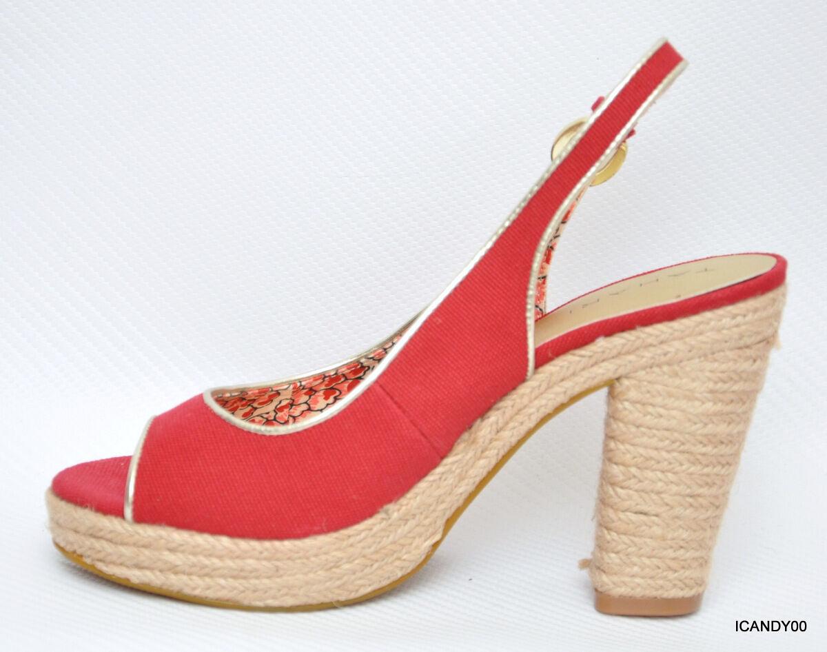 New Tahari Tahari Tahari BARB Canvas Slingback Platform Pump Heel Sandal shoes Red 9.5 4e8532