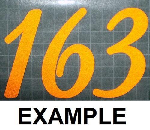 3 Hand cut reflective sticker decal  mailbox door wheelie bin house numbers