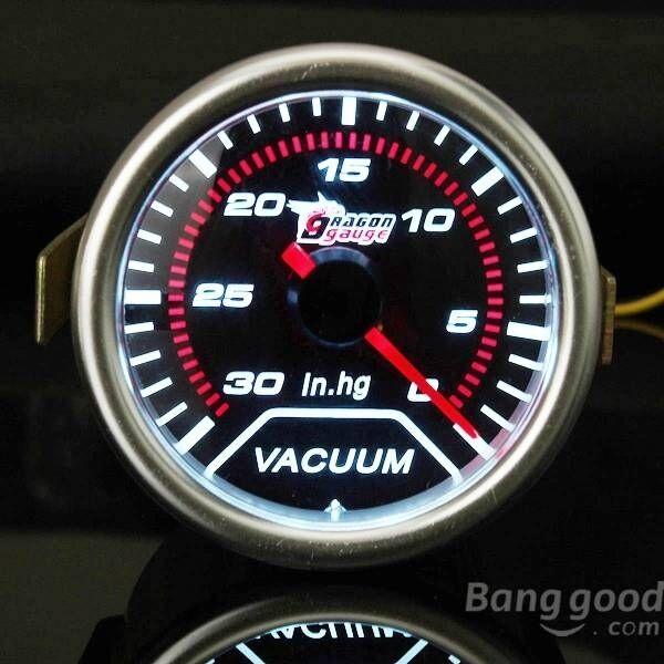 2 Inch 52MM Universal Auto Red LED Vacuum Car Gauge 30 - 0 IN.HG Meter
