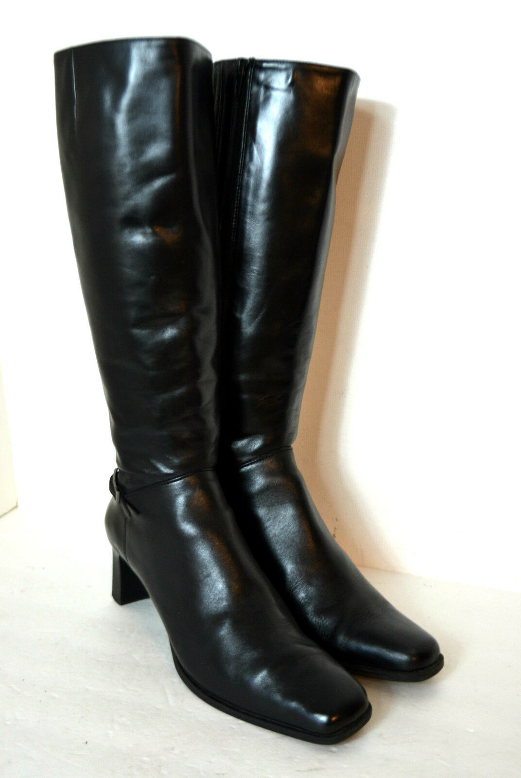 """GIOVANNI Z BLACK GENUINE LEATHER WOMEN BOOTS SIZE 9.5 M  2.5"""" HIGH HEELS TALL"""