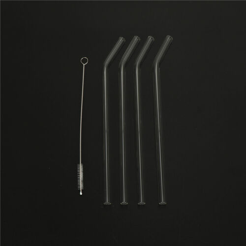 4pcs Reusable Clear Glass Water Drinking Straws and 1 Brush Party Supplies RS