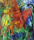 """Franz Marc Vintage Abstract Art CANVAS PRINT Animals in landscape poster 16""""X12"""""""