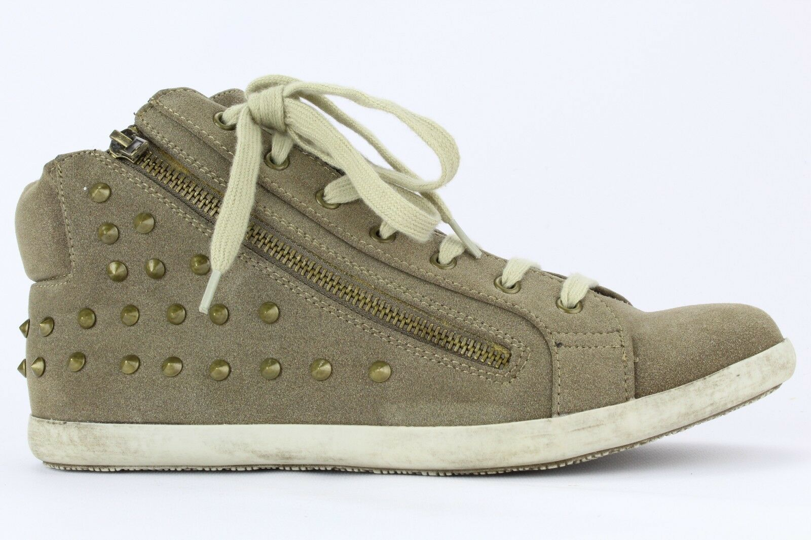 Michael Antonio Women's Taupe PU Paine Studded High Top Sneaker Size 8.5