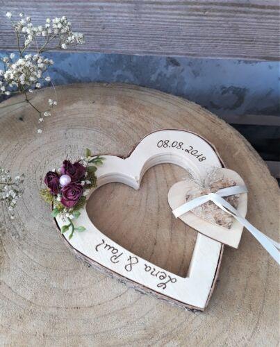Hochzeit Ringkissen Herz mit Holzherz Ringhalter Mille Fleurs für Eheringe Namen