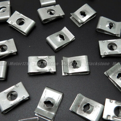 20 U Type Speed Nut 3.3mm Screw Size Zinc Plated Metal Clip Fastener 17.8*11mm